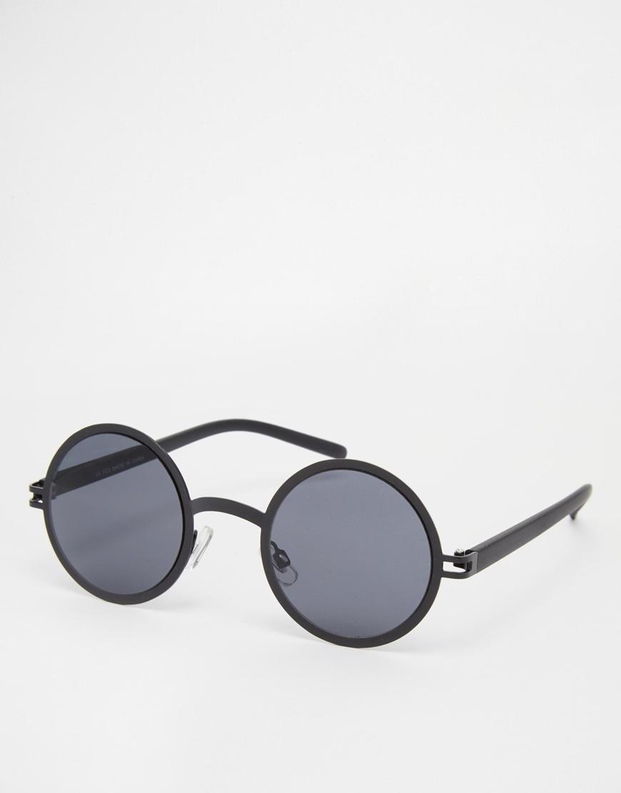 Gafas de sol metálicas redondas , mujer con gafas de sol