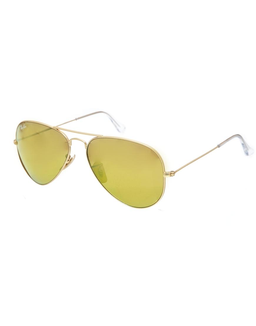 Gafas de sol de aviador con cristales de espejo dorado, gafas mujer