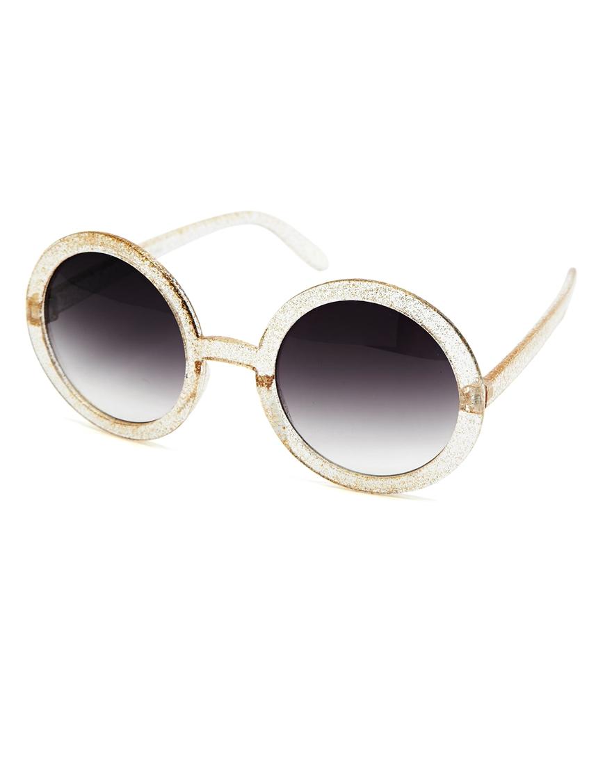 Gafas de sol redondas con purpurina , gafas de sol de mujer de moda
