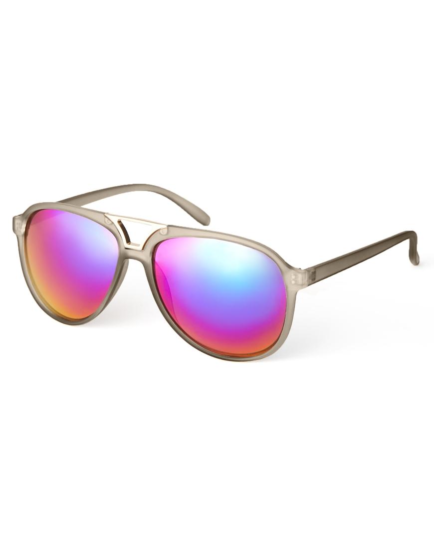 Gafas de sol estilo aviador con aplicación metálica y acabado mate