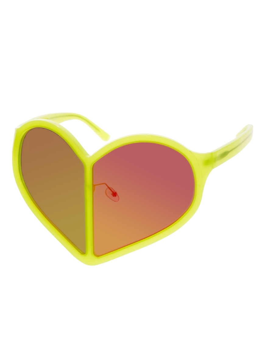 Linda Farrow Mirrored Heart Sunglasses, gafas de sol para mujer