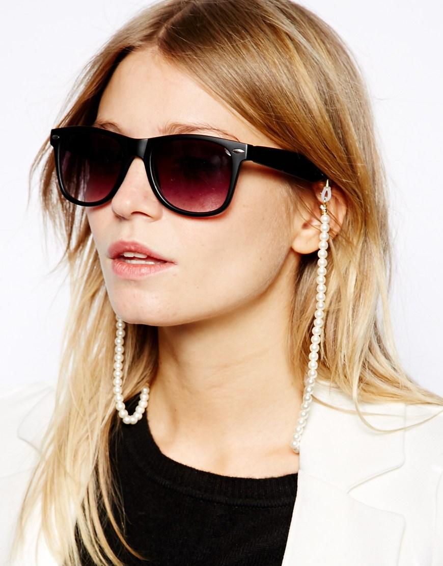 Cadena de cordón y perlas para gafas de sol