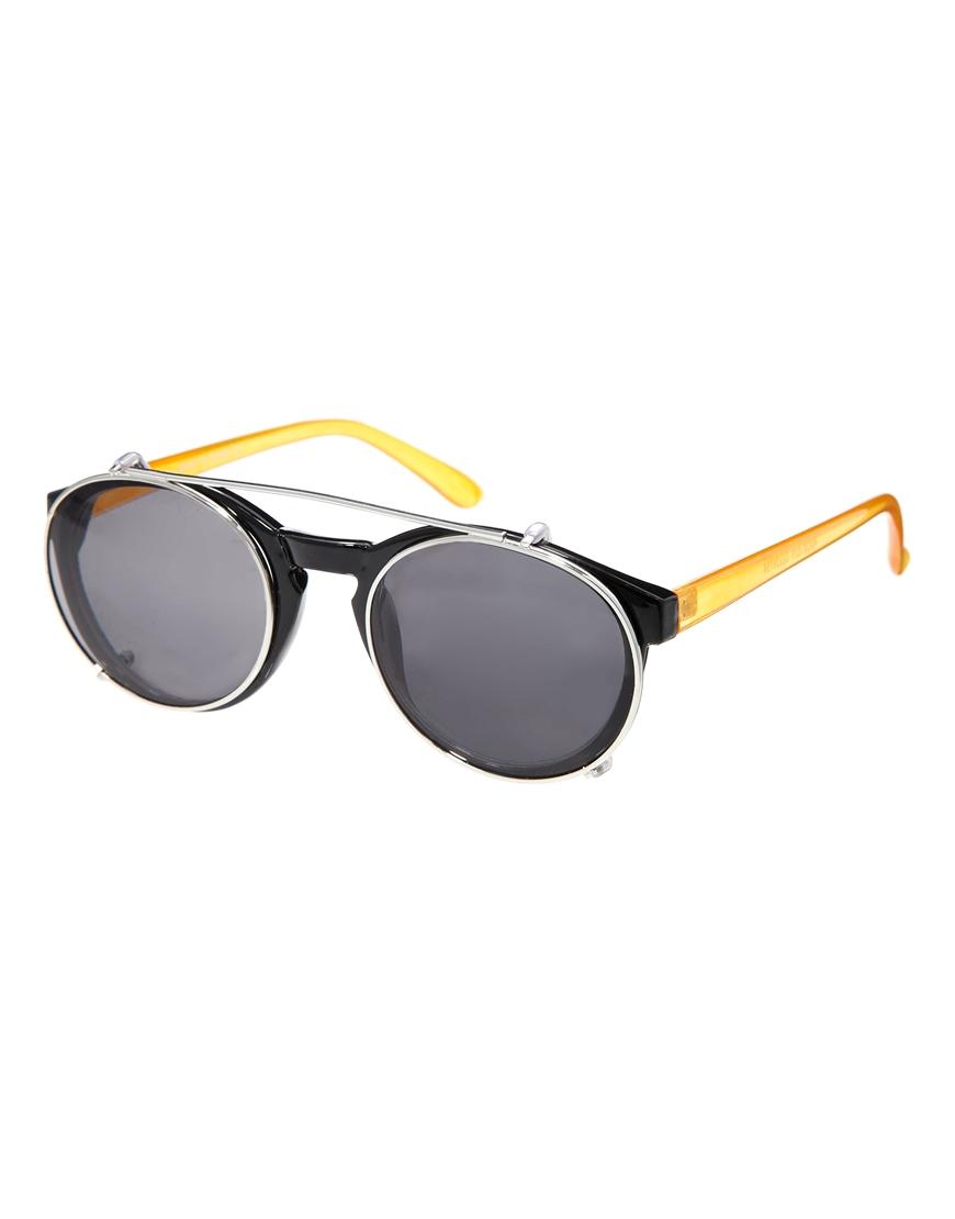 Gafas de sol con montura redonda con clip