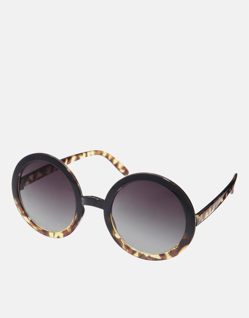 Gafas de sol con montura redonda de mezcla de carey