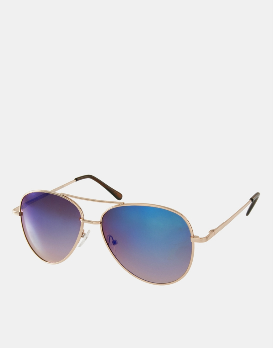 Gafas de sol de aviador con lentes de espejo azules