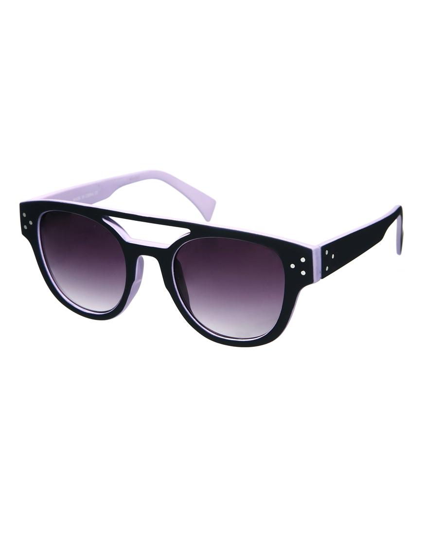 Gafas de sol de estilo retro color block con barra alta