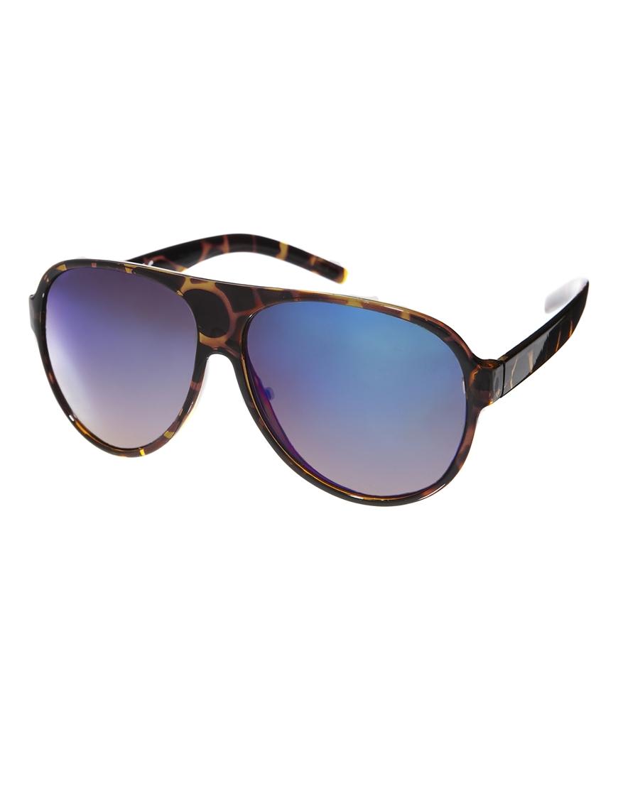 Gafas de sol estilo aviador con diseño grueso de carey