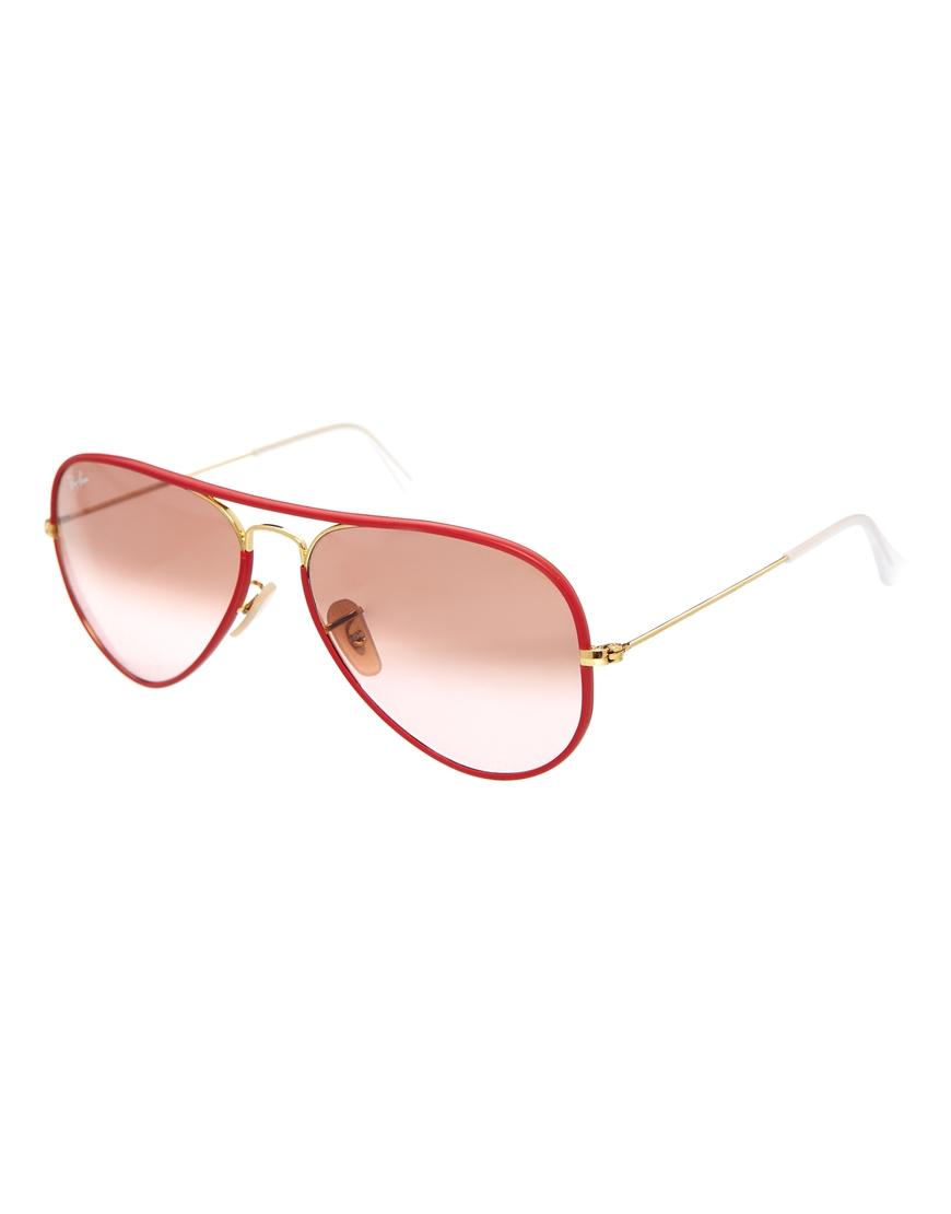 Gafas de sol estilo aviador en rosa de Ray-Ban, moda en gafas